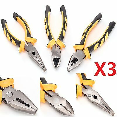 3 Pcs Plier Set Long Nose Soft Grip Combination Cutter Cable/Wire Cutting Pliers