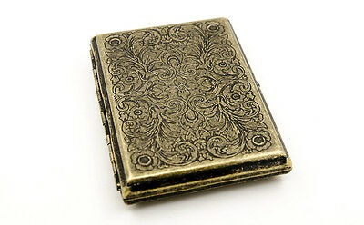 Vintage Brass Copper Lucky Symbol Floral Flower Wiredrawing Cigarette Case Box