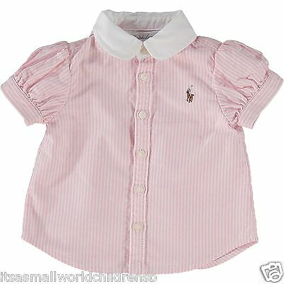 RALPH LAUREN baby girl Pink stripe ss BLOUSE 3/6M (70cm) cotton oxford BNWOT