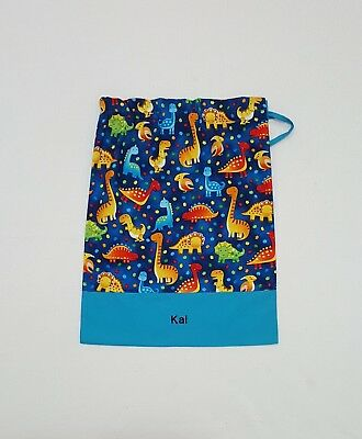 $Free Name Dinosaur All Over Blue Personalised Embroidery Library Bag Kinder(Fd)