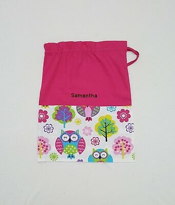 $Free Name Big Owl M20 Personalised Embroidery Library Bag Kinder Fd