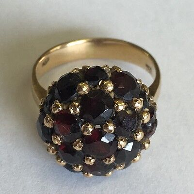 Vintage Heavy Solid 18ct Yellow Gold Hallmarked Garnet Cluster Ring Size K1/2