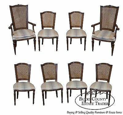 Vintage Set of 8 French Louis XVI Style Walnut Cane Back Dining Chairs by Karges