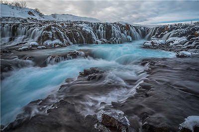 Iceland Waterfall Stream Roc Full Wall Mural Photo Wallpaper Print Home 3D Decal