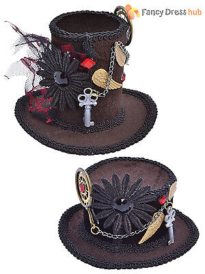 Adult Steampunk Mini Top Hat Ladies Mad Hatter Halloween Fancy Dress Accessory