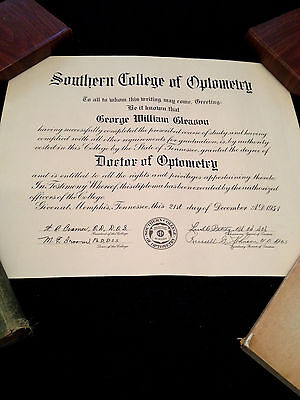 """1951 Southern College Of Optometry Diploma Dr George W. Gleason 17"""" X 14"""""""