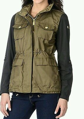 Vince Camuto Women's Mix Media Cotton and Faux Leather Anorak Sz XL