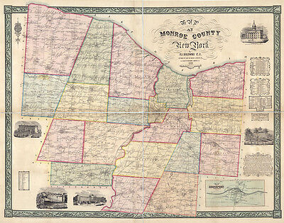 1852 Map of Monroe County New York Rochester