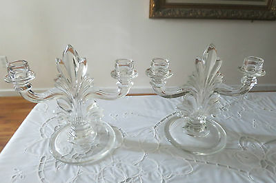Vintage FOSTORIA FLAME Clear Glass Double Arm Candle Holders Art Deco Pair Great