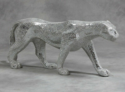 Large Silver Mirror Crackle Mosaic Sparkly Panther Cat Figure Statue Stunning