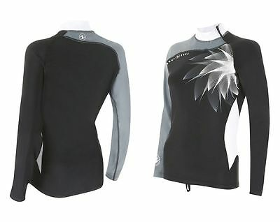 Aqualung Rash Guard Black+White Langarm, UV-Schutz Lycra Shirt, UV-Shirt