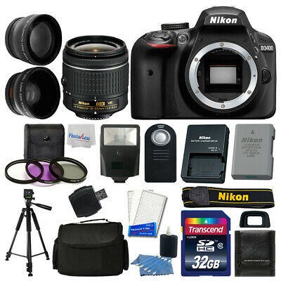 Nikon D3400 Digital SLR Camera Body 3 Lens Kit 18-55mm Lens + 32GB Top Value