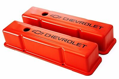 SBC Orange Steel Tall Valve Covers w/ Black Chevrolet Logo 58-86 Chevy