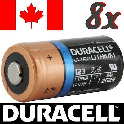 8 Pcs CR123A Lithium Battery Duracell Ultra DL123 Power Photo Batteries.Exp:2024