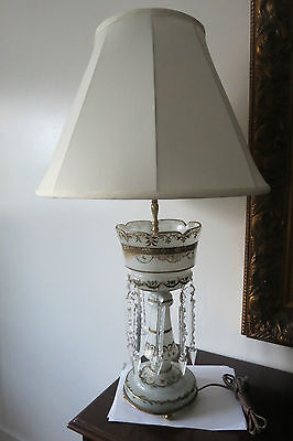 Antique Victorian Bristol Glass Luster W/crystals Table Lamp Handpainted Works