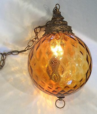 Vintage Mid Century Hanging Swag Lamp Lg Amber Optic Glass Gold Diffuser Light