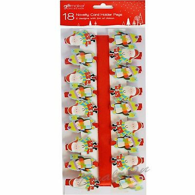 18 x Christmas Card Peg Holders Novelty Cute  2 Design with 2m of Ribbon Xmas