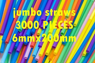 3000 Disposable Jumbo Straws Size 200Mmx6Mm