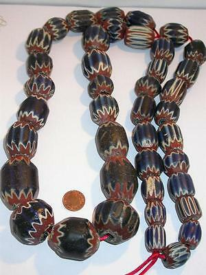 Ultimate Antique Venetian 7 Layer Chevron Bead Strand C.1500 Superb