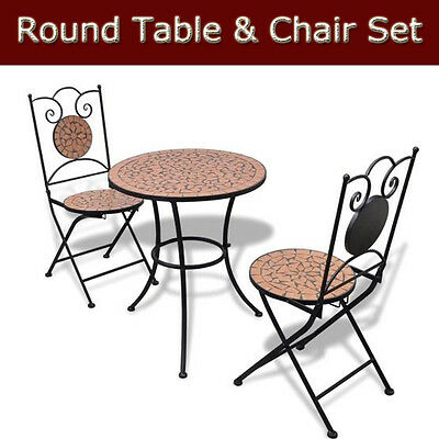 Round Mosaic Bistro Table & Chair Set for Home Garden Patio Furniture Outdoor