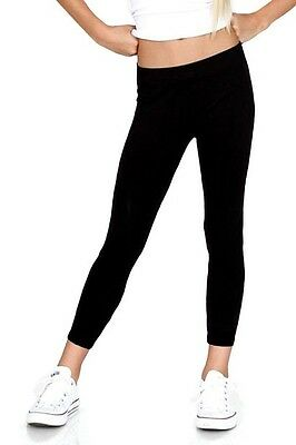 Cotton Spandex Ankle Length Leggings Yoga Pants Girls Size 2-14 32 Colors USA
