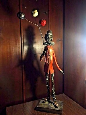 Wire Sculpture by J. Pena 1980 Clown Holding Balloons