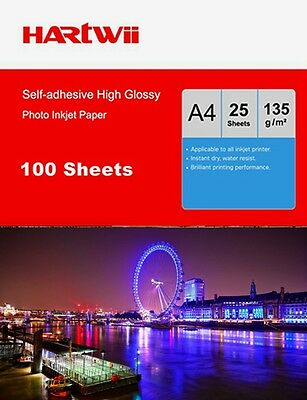 100 Sheet A4 135Gsm Glossy Photo Paper Sticker Self Adhesive Inkjet paper