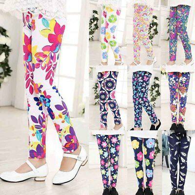 New Lovely Baby Kids Girls Leggings Pants Floral Printed Trousers For 1-12 Years