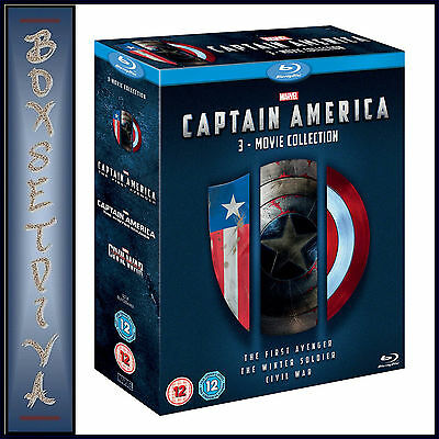 Captain America 1 2 & 3 - 3 Movie Collection Boxset Brand New Bluray Region Free