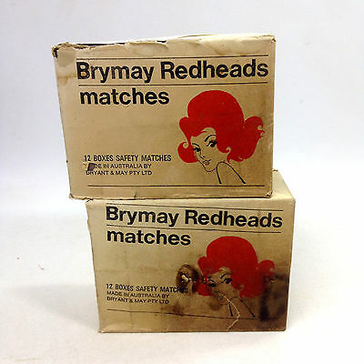 2 x Vintage PACKS of 12 BRYMAY REDHEADS MATCHES LABEL COLLECTORS Unopened