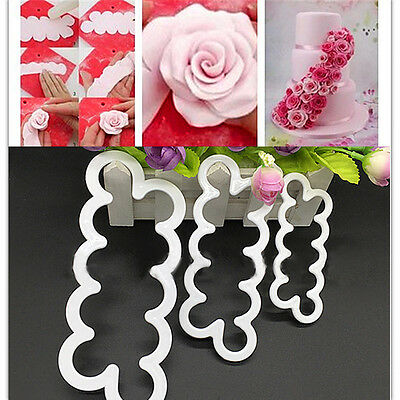 3pcs 3D Rose Flower Cutter Mold Sugarcraft Fondant Cake Baking Maker Furnishing