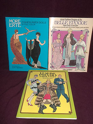 Three Paper Doll Books By Tom Tierney  Roaring 20's Belle Epoque Erté  BRAND NEW