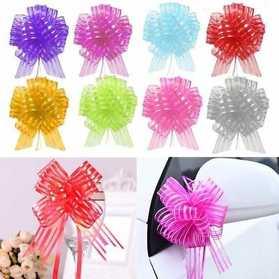 10pcs Pull Bow Colorful Cute Lovely Ribbons Wedding Floristry Car Decorations UK