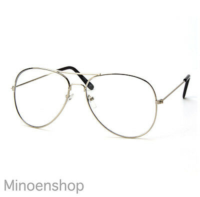 Clear Lens Metal SILVER Aviator Glasses Fashion Classic Retro Frame