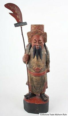 China 20. Jh. Holzfigur - A Chinese carved Wood Figure of Guan Yu Cinese Chinois