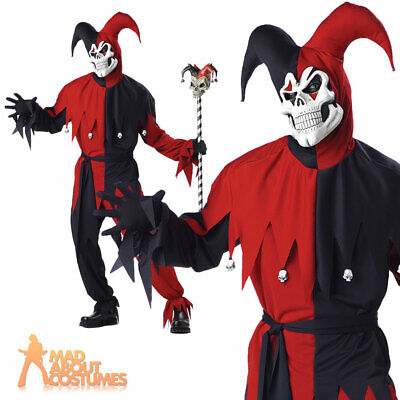 Adult Evil Jester Costume Red & Black Mens Halloween Fancy Dress Outfit New