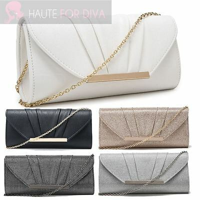 Ladies Faux Leather Glitter Silver Gold Trim Chain Pleated Evening Clutch Bag