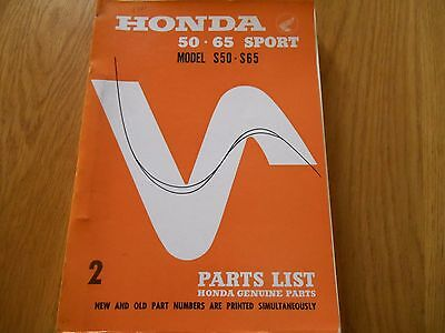 Honda S50 S65 Sport, Parts list catalogue book diagrams,
