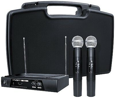 Kam KWM11 Dual VHF Wireless Handheld Microphone System With Case