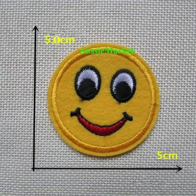 2 x face emoji patch patches iron on sew on child kids boys girls jeans clothes
