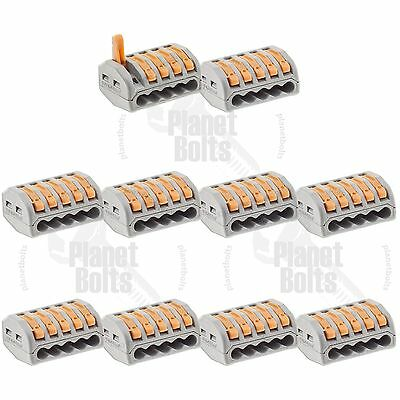 10x Terminal Block Lever Home Wire Connector 5 Pole Cable Clamp Nuts Reusable