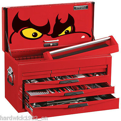 Teng Tools Large 140 Piece Toolkit With Red 6 Drawer Toolbox Top Box Tool Chest