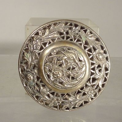 Antique South East Asian Chinese Silver Box Incense Box Birds Floral