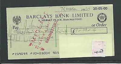 wbc. - CHEQUE - CH407- USED - 1969- BARCLAYS BANK, BASINGSTOKE