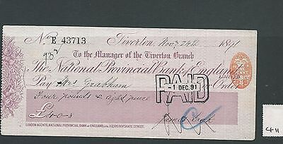 wbc. - CHEQUE - CH411- USED - 1891- NAT.PROVINCIAL BANK of ENGLAND - TIVERTON