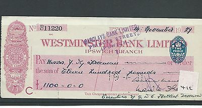 wbc. - CHEQUE - CH412- USED - 1929- WESTMINSTER BANK - IPSWICH