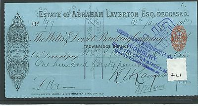 wbc. - CHEQUE - CH421- USED - 1913- WILTS & DORSET BANKING, TROWBRIDGE - special