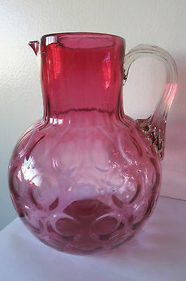 Vintage Fenton Pink Cranberry Glass Coin Dot Pitcher
