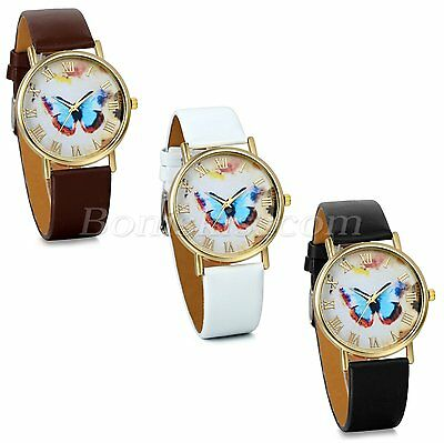 Women's Chic Roman Numberals Leather Strap Butterfly Analog Quartz Wrist Watch