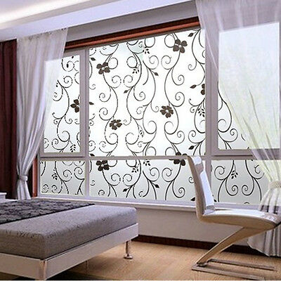 45x100cm Frosted Privacy Glass Window Black Floral Flower Sticker Film Adhesive